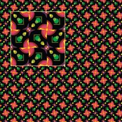 Khokhloma - geometric symmetrical seamless pattern