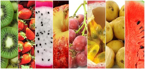 Strawberry, kiwi fruit, berries, grapes, apples, watermelon, pas