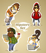 Постер, плакат: Set hipsters nerds with gadgets and without