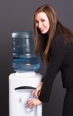 Pretty Brunette Woman Office Staff Water Cooler Workplace Drink