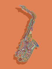 Retro style saxophone card
