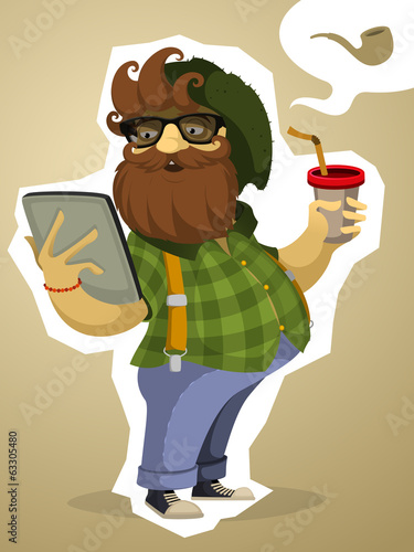 Paunchy bearded hipster with the tablet and drink