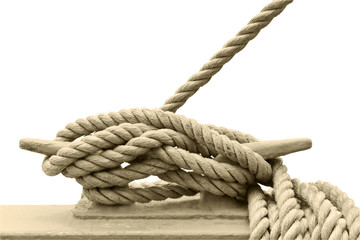 Nautical cleat and rope.Sepia tone.Marine concept.