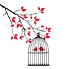 vector birds in cage in the tree