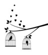vector birds in cage in the tree with hearts