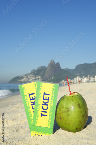 Two Brazil Tickets with Coconuts Ipanema Beach Rio