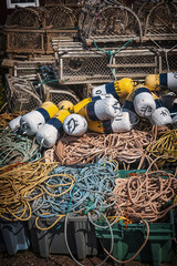 Lobster traps, floats and rope