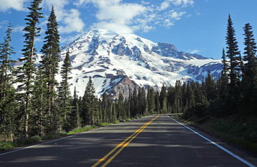 Approaching Mount Rainier, Washington, USA