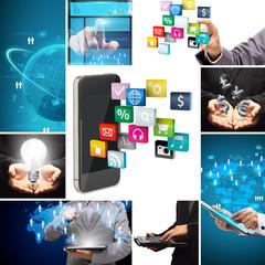 Social media business innovation technology concept design