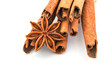 star anise with cinnamon sticks isolated  on white background