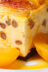 cheese casserole with raisins and peaches macro vertical