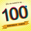 100th Birthday party invite/template design retro style -Vector