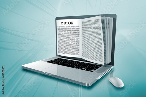 a laptop with e book on the screen