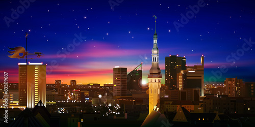 abstract background with red sunset and silhouette of Tallinn
