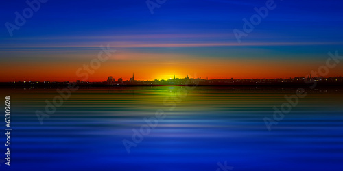 abstract background with silhouette of city and blue sky