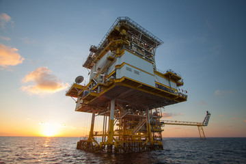Oil and gas platform in the gulf or the sea