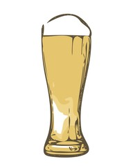 Glass of beer sketch - isolated on white background