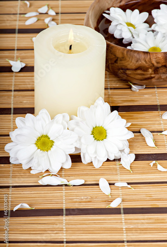 Spa background with candle and daisies