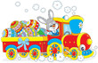 Bunny carries Ester eggs by toy train