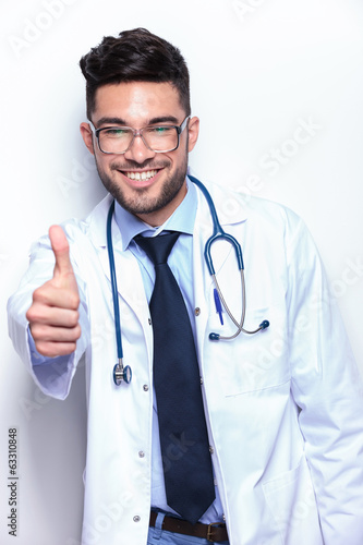 young medic shows thumb up