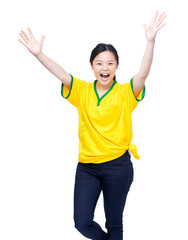 Excited asia female soccer fans