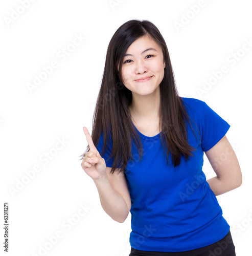 Asian woman finger pointing to show something