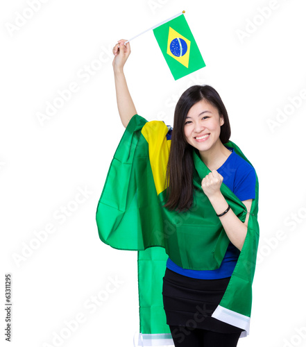 Asian excited woman drape with Brazil flag