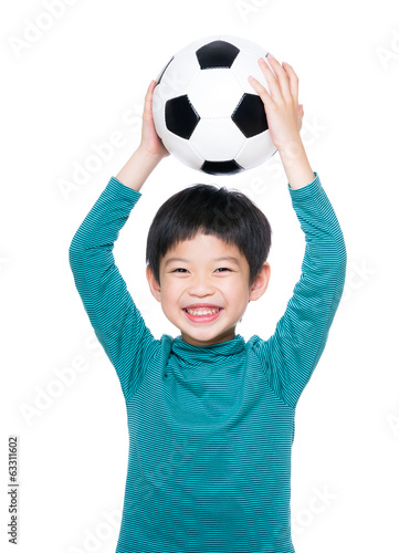 Asia little boy holding up with soccer ball