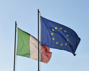 Flags of Italy and European Union.