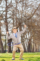 Healthy senior exercising outdoors