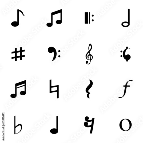 Vector Black  Notes Icons Set - 63312472