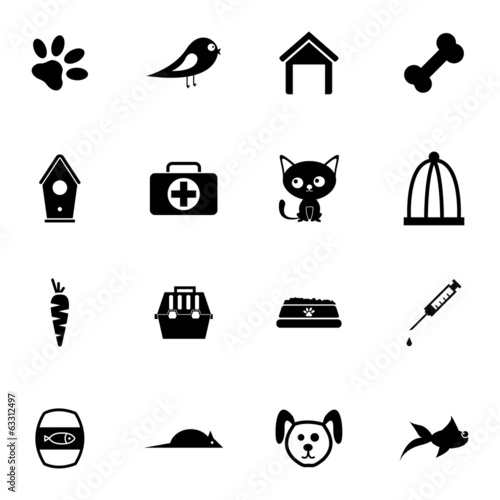 Vector black pet icons set