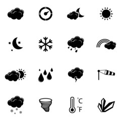 Vector black  weather icons set