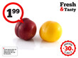 Isolated red and yellow ripe plums (white)