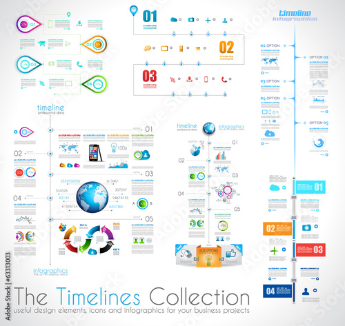 Timeline Infographic design templates collection