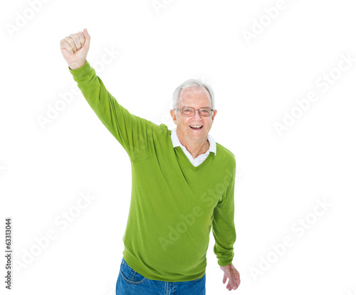 Cheerful Casual Mature Adult Celebrating