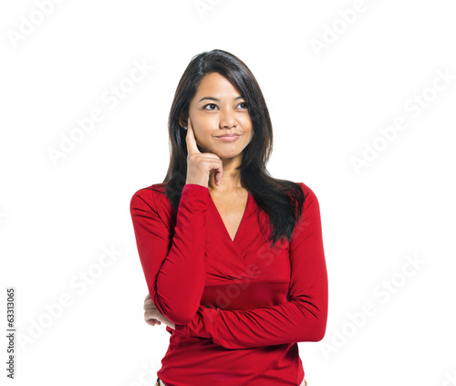 Young Casual Asian Woman Thinking
