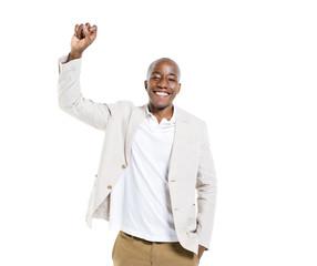 Cheerful Smart Casual Man Celebrating