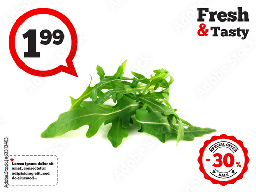 Arugula, rucola fresh heap leafs isolated on white