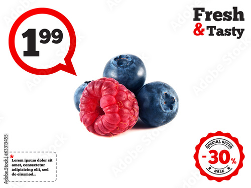 Fresh blueberries, raspberry isolated on white