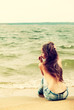 canvas print picture - topless girl on beach