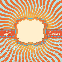 Design template Hello summer in retro style