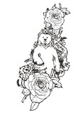 Bear with rose sketch vintage tattoo vector - 63314679