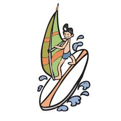 Man playing wind surf