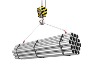 Crane Hook with Stack of Steel Metal Tubes isolated on white