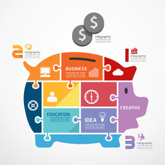 infographic Template with piggy bank jigsaw banner . concept vec