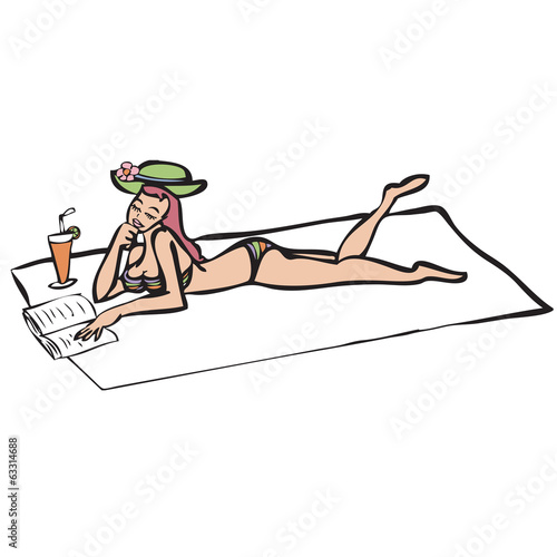 Woman in bikini lay down on mat