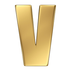 Letter V from gold solid alphabet