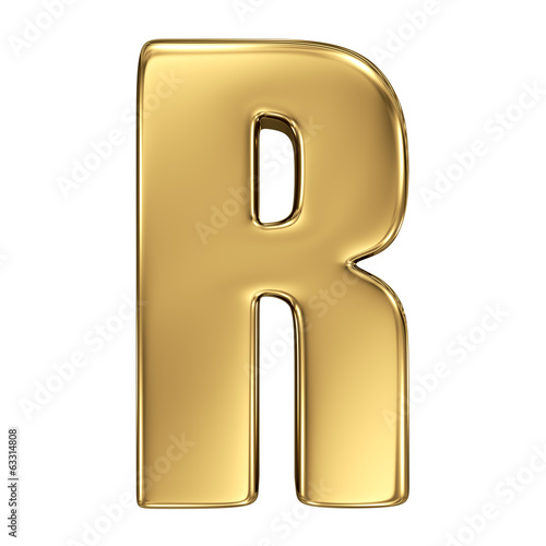 Letter R from gold solid alphabet
