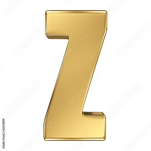 Letter Z from gold solid alphabet